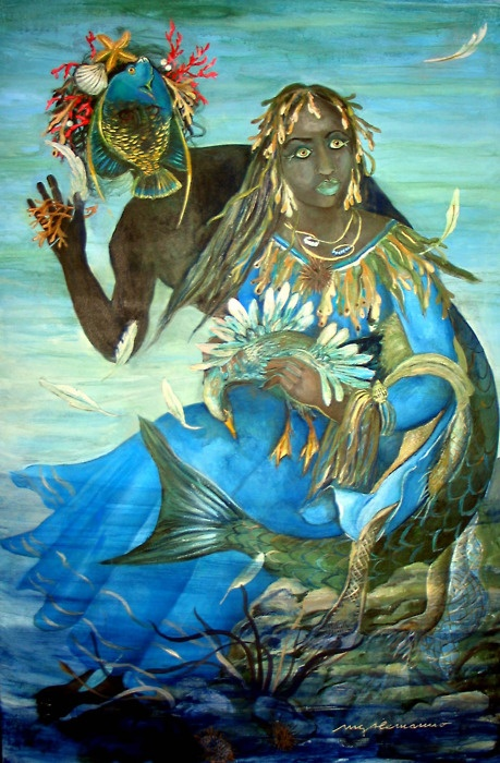 I am Yemaya, Nigerian Fish Mother, Brazilian Voodoo mermaid.  Lakes, rivers and oceans are my home.  The waters of life belong to me.  We cleanse and sustain each other.