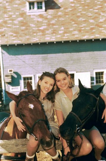 "Kate Bosworth and Scarlett Johansson in 1998 on the set of ""the Horse Whisperer""."