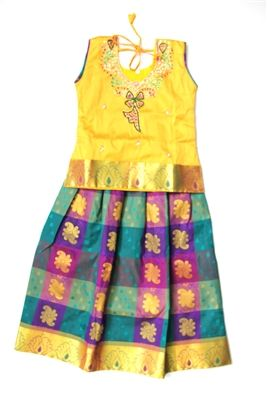 Silk Skirt Set with Purple and Green Skirt and Yellow Top (Size 24) #india #indian #fashion #jewelry #dress #girlsdress #silk #purple #green #yellow #pattupavadai #clothingset #striped #embroidery #stonework