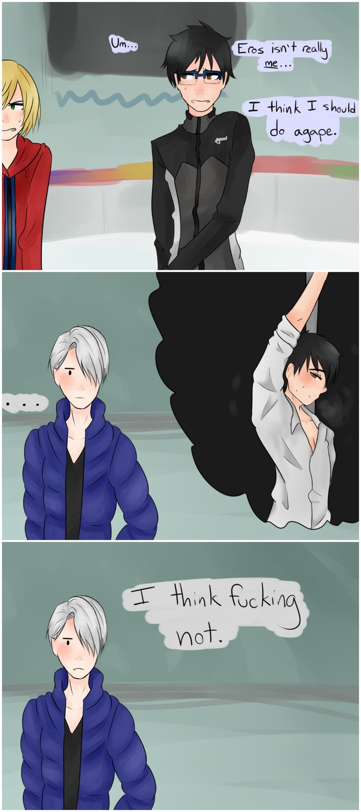 Lol, acadentaly posted this to Hetalia, Yuri on ice