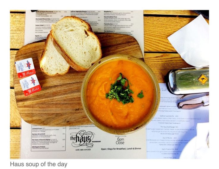 Soup of the day, very tasty.  The Haus Cafe Bar and Kitchen	 - Cafes  - HAHNDORF - TRUE LOCAL
