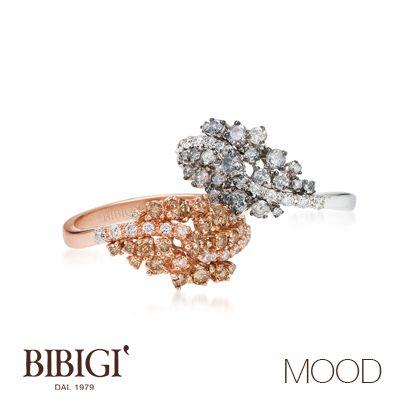 #Bibigì #Mood Anello in oro bianco, brillanti gray e diamanti. Anello in oro rosso, brillanti brown e diamanti. Più retrò o più classica, Mood propone le versioni in oro rosso e oro bianco per qualsiasi stato d'animo.