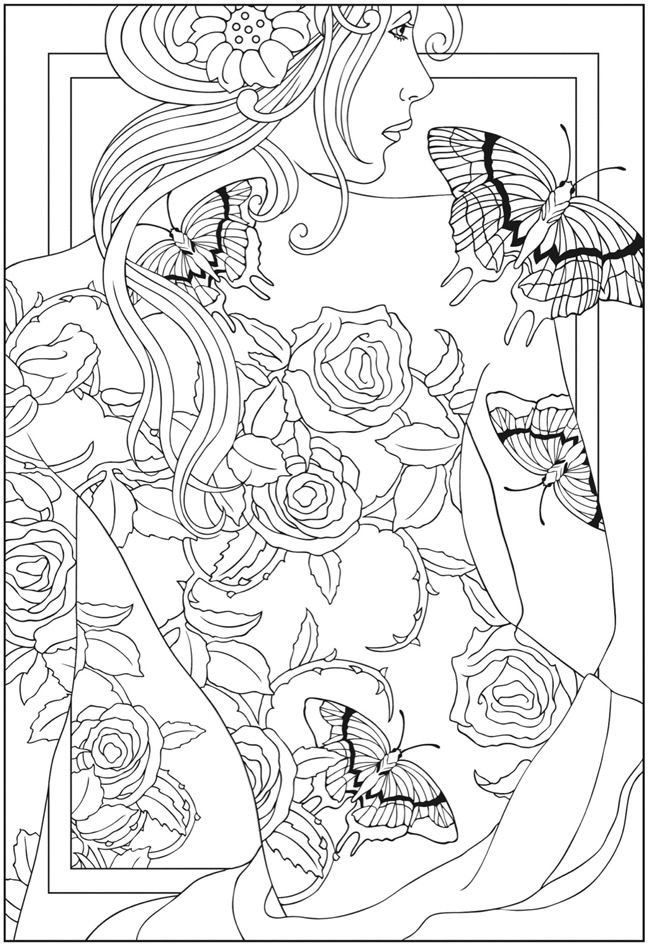 Welcome To Dover Publications Roses Butterfly Tattoo Coloring Pages Colouring Adult Detailed Advanced Printable Kleuren Voor