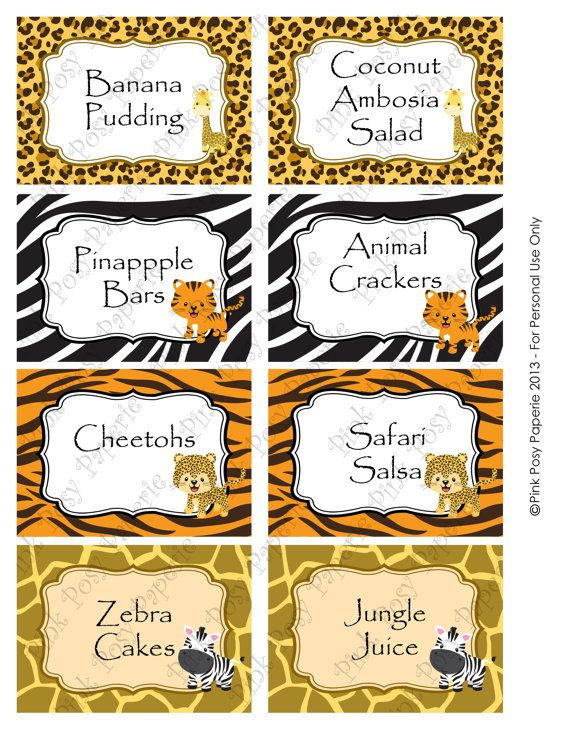 Printable Safari Baby Shower Food Labels by PinkPosyPaperie