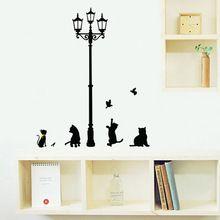 Lampada di via del fumetto gatto vinile adesivi murali carta da parati wall sticker smontabile home decor ufficio camera decalcomanie casa art sticker(China (Mainland))