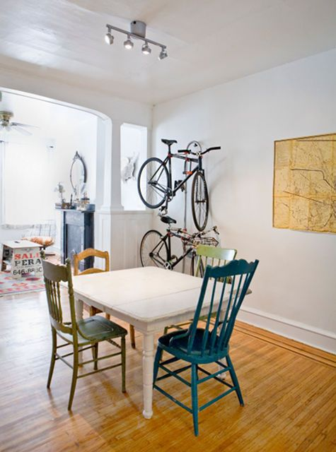 Image above: Adam is a bike mechanic, so it's no wonder that this couple's rides have a prominent place in their Philadelphia dining room. From sneak peek: halligan norris smith and adam smith.    Read more at Design*Sponge http://www.designspongeonline.com/2010/09/best-of-bikes.html#ixzz1FvkeUbH0