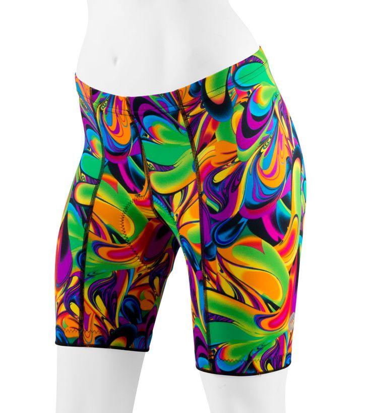 What can I say? I love color! Women's Wild Print Black Flower Padded Cycling Shorts