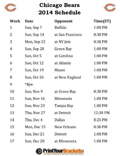 Bears Schedule 2014
