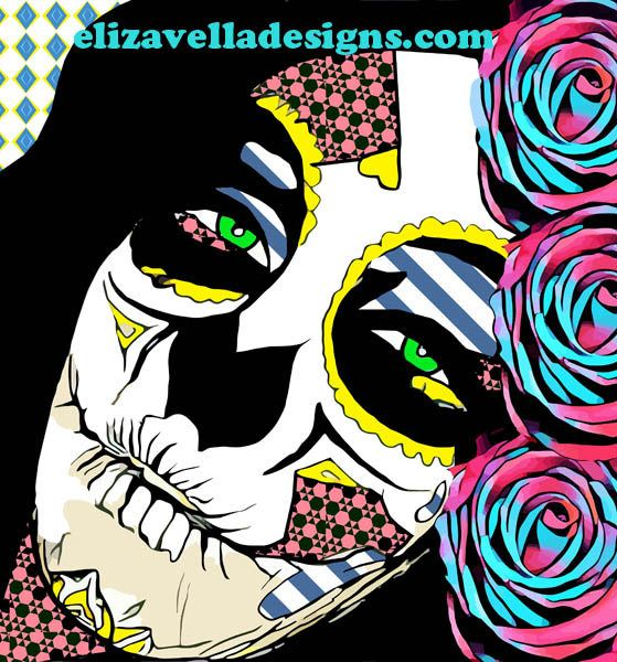 Skull lady roses abstract printable original art digital download image graphics day of the dead skeleton