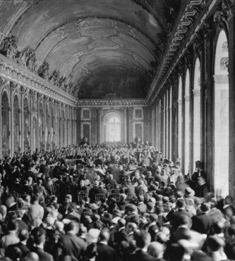 Allied delegates in the Hall of Mirrors at Versailles witness the German delegation's acceptance of the terms of the Treaty Of Versailles, the treaty formally ending World War I. Versailles, France, June 28, 1919. This Day in History: Jun 28, 1919: Treaty of Versailles Ends World War I
