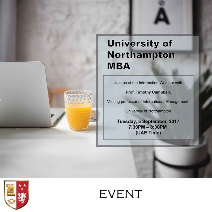 | University of Northampton MBA (CIPS Accredited) Webinar for Middle East Students |  Here is your chance to meet Prof. Timothy Campbell, visiting professor of International Management, University of Northampton.   Dr. Campbell will explain the structure of the MBA (with CIPS accreditation) programme, how you can complete it without leaving your work or family, and how you can pay for it in flexible instalments.  All you need is a computer or a smart phone and preferably a set of earphones.