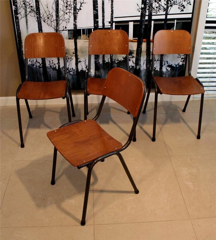 50s 60s Vintage Retro Dining Chairs X 4 Old School Style
