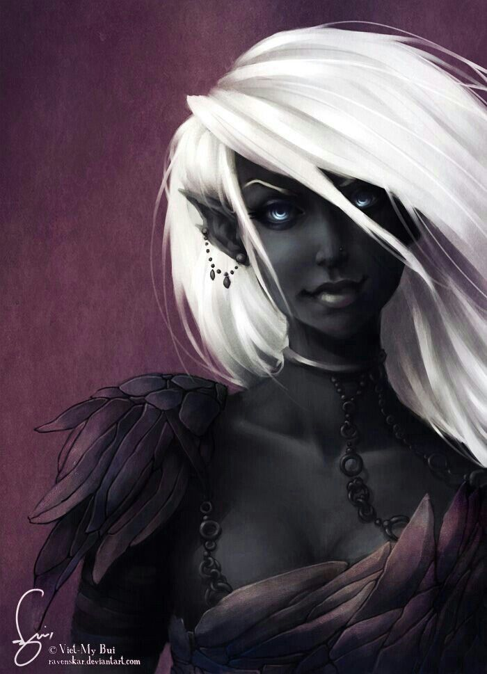 Dark elf - Mistair are similar, but have darker hair (generally)