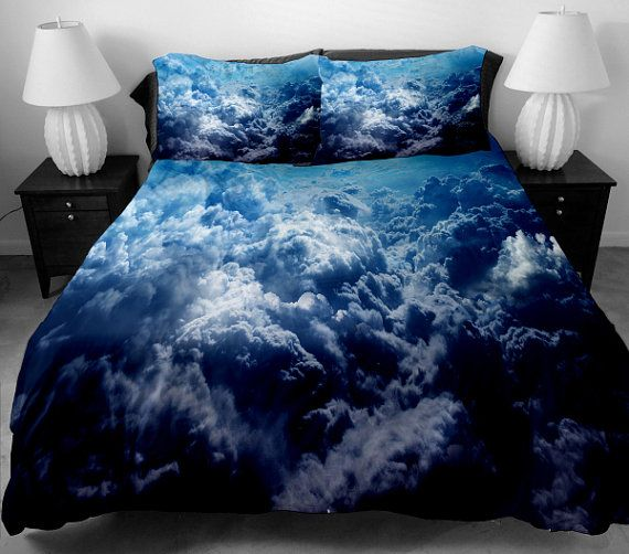 Cloud bedding set blue bedding set cloud bed spread by Drossstre, $168.00