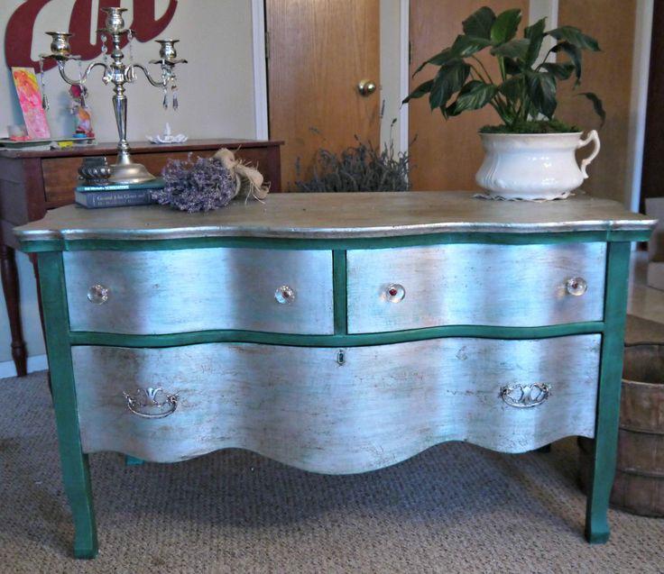 Silver Leaf Serpentine Dresser With Florence Chalk Paint Dark Wax And Enhancements