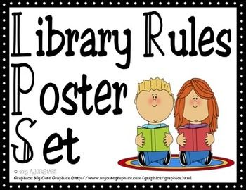 Super cute Library Rules Poster Set