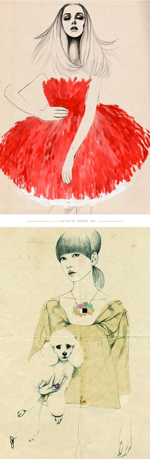 "Sandra Sui - Like her approach to Fshion Illustration .....btw.... these 2 ""girls"" are on the same pin..."