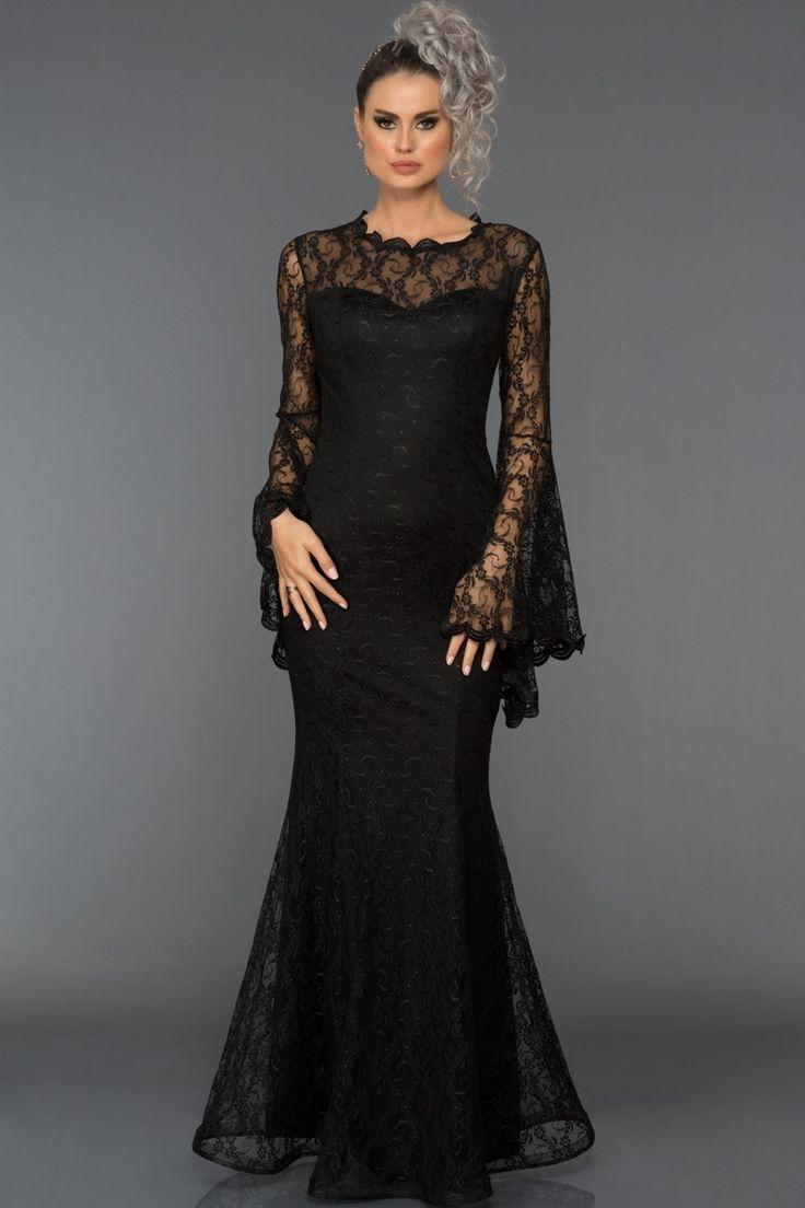 Siyah Uzun Kol Dantelli Abiye Elbise L6040 Abiye Dantelli Elbise Kol L6040 Siyah Uzun Elbise Nedime Giysileri Moda Stilleri