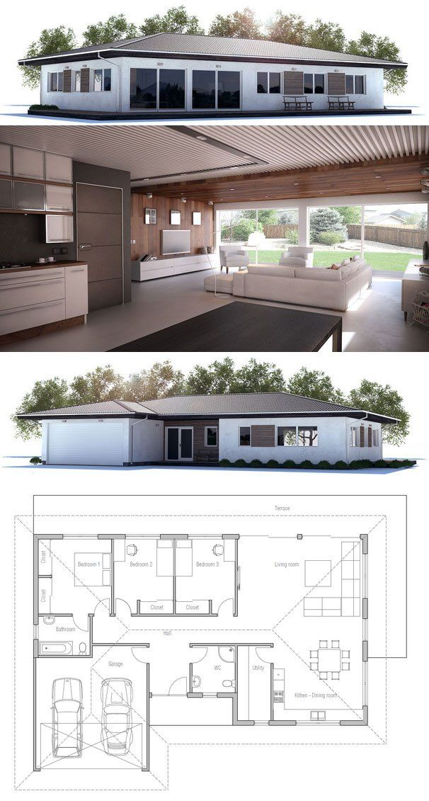 Small House Design with open floor plan. Efficient room planning, three bedrooms, double garage.