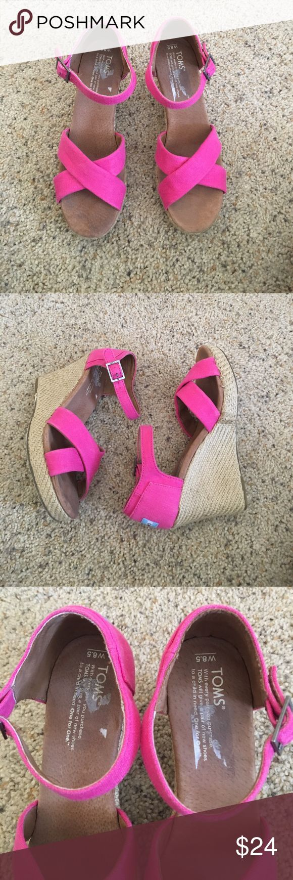 Pink Tom espadrille Sandals Great condition. Only worn a few times. Wear in pics Toms Shoes Espadrilles