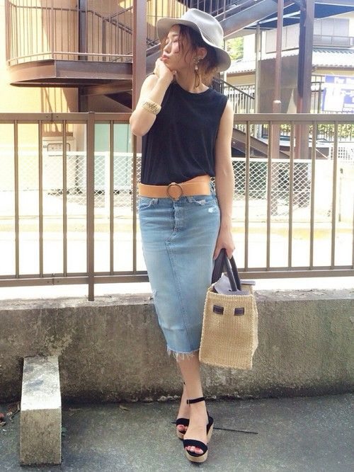 shihoさんの「デニムタイトスカート◆(Deuxieme Classe)」を使ったコーディネート デニムスカート outfit denim skirt coordinate #ootd styling style