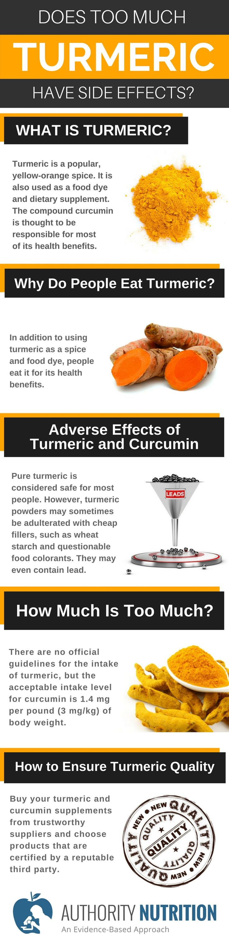 Turmeric is a popular spice that contains curcumin, a powerful bioactive compound. This article explores whether it has any side effects at high doses:https://authoritynutrition.com/turmeric-side-effects/
