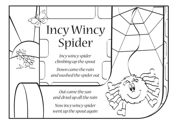 Itsy bitsy spider also known as incy wincy spider is Coloring book lyrics