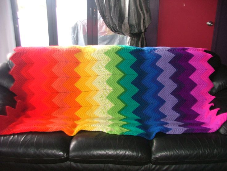 Rainbow zig zap blanket.To guide your size of blanket – 73 sc measures 30 cm in 8 ply and sc's, using 4.5mm hook. Make 312 ch. (or multiples of 14sts plus 4 extra to get the size of blanket you want.) 1st row - dc into 2nd ch from hook and into each ch to end. 1 ch, turn. (311 sts) 2nd row – Working into back loop of the sc, 2 sc into next sc, * sc into next 14 sc, miss 2 sc, sc into each of next 14 sc, 2 sc into next sc. Rep from * to end. Repeat 2nd row until work measures required length.