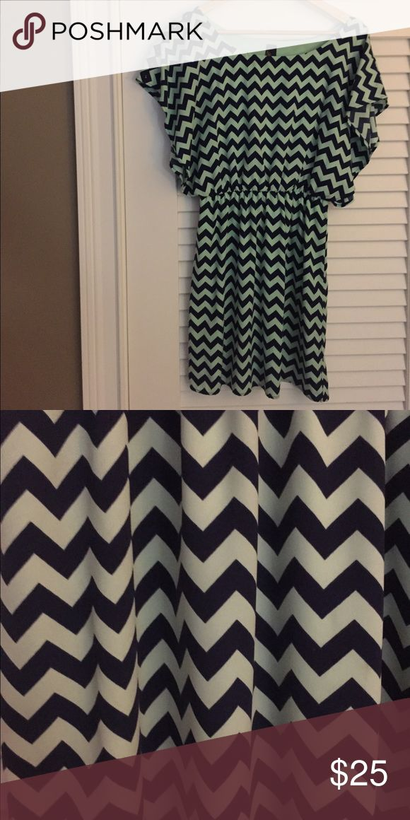 Mint green and navy blue chevron dress Barely worn, butterfly style sleeves. Dresses