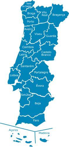 Mapa de Portugal: Distritos