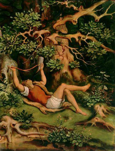 Moritz von Schwind - Dans la forêt, Garçon avec une trompe