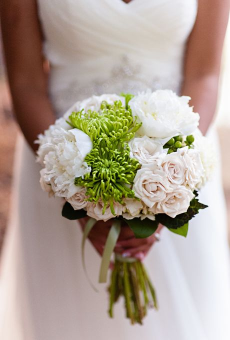 Bouquets from Real Weddings: White Peonies and Green Mums | Photo by Sharayamauck Photography