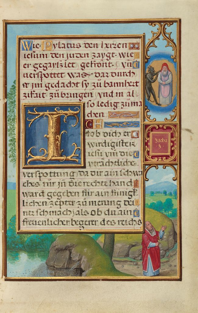 Border with Zechariah's Vision of the High Priest and the Devil; Simon Bening (Flemish, about 1483 - 1561); Bruges, Belgium; about 1525 - 1530; Tempera colors, gold paint, and gold leaf on parchment; Leaf: 16.8 x 11.4 cm (6 5/8 x 4 1/2 in.); Ms. Ludwig IX 19, fol. 165; J. Paul Getty Museum, Los Angeles, California