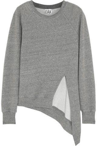 OAK|Split-front jersey sweatshirt|NET-A-PORTER.COM