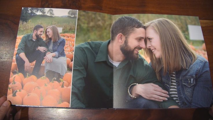 Full page album spread from a husband and wife photo session in Waynesville, NC