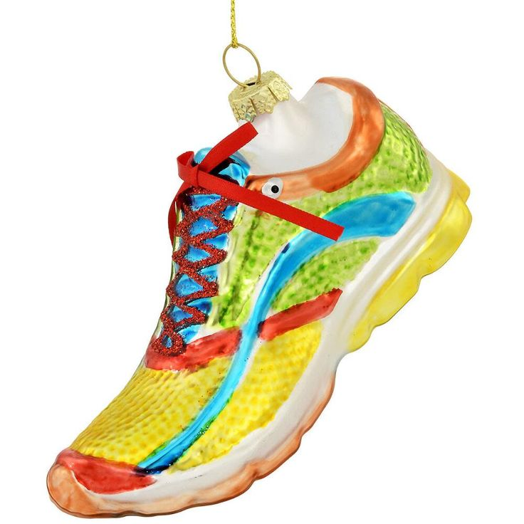 Glass Running Shoe Ornament