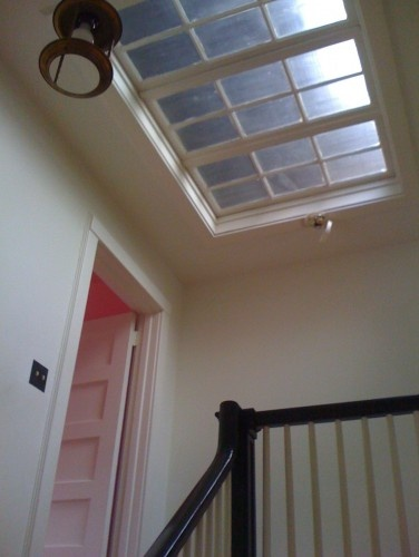 Skylight at the top of the stairs