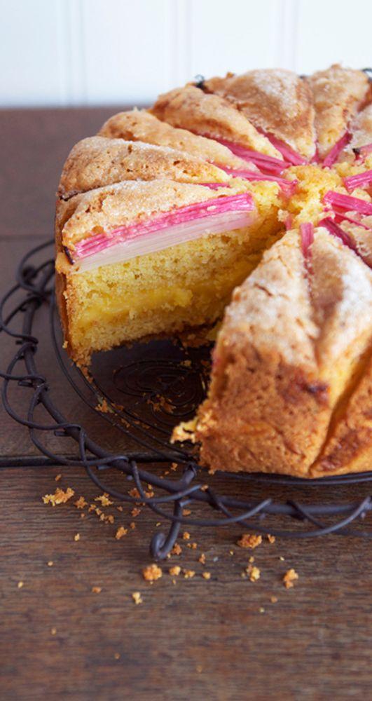 Rhubarb Custard Tea Cake | eatlittlebird.com