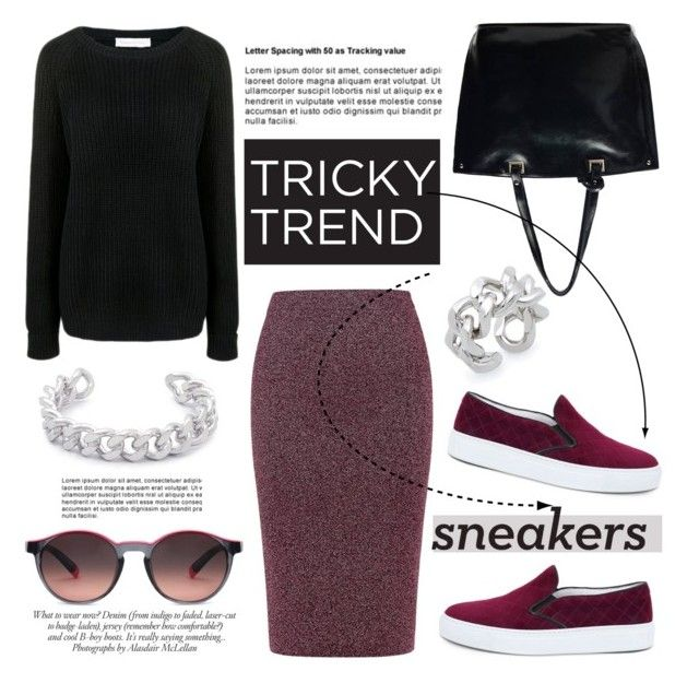 """Tricky Trend: Pencil Skirts and Sneakers"" by ifchic ❤ liked on Polyvore featuring Essentiel, Finders Keepers, Amb Ambassadors of minimalism, Gemma Redux, JAY. M, ANNA, Etnia Barcelona, TrickyTrend, sneakers and pencilskirt"