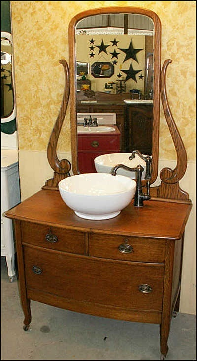 35 best images about antique medicine cabinet on pinterest - Bathroom vanities from old dressers ...