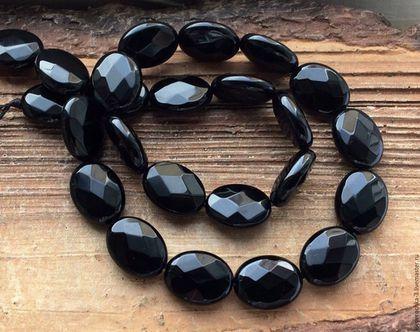 Для украшений ручной работы. Ярмарка Мастеров - ручная работа. Купить Оникс черный 16 мм овал огранка крупные бусины камни для украшений. Handmade.