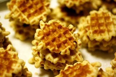 Galettes (Belgian Waffle Cookies) --another recipe is:  2 eggs 3/4 cup sugar 1/2 cup soft butter, 1 1/2 cups flour 1/4 cup cornstarch 1tsp. vanilla extract 1tsp almond extract Beat eggs add sugar beat again.Stir in butter and flavorings Sift flour and cornstarch together and add to mixture. Chill dough in refrigerator. Remove and form into balls. Place 1 ball. size of a walnut, on each grid section of iron. Remove cookies after 2 or 3 minutes. Try both, see which one beings back best…