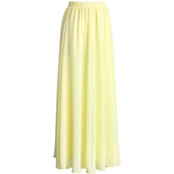 Chicwish Light Yellow Chiffon Maxi Skirt ($38) ❤ liked on Polyvore