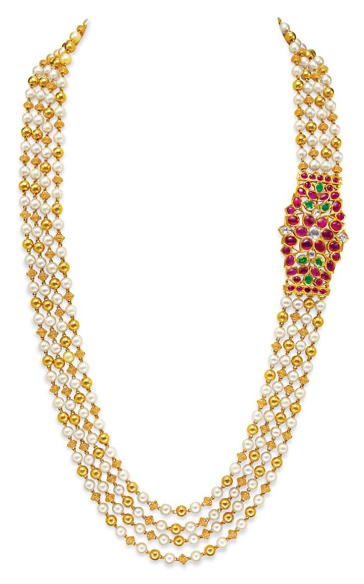 Ganjam's pearl and gold beaded multi-string necklace with a ruby-set side brooch.