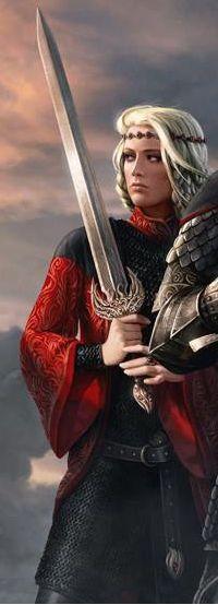 "Queen Visenya wielding the ancestral sword ""Dark Sister."""