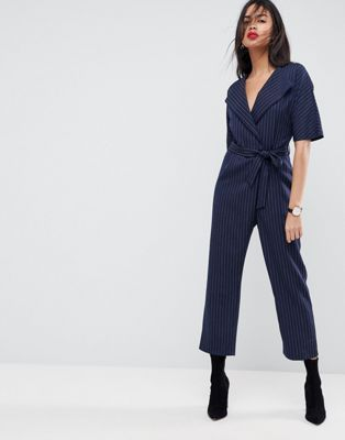 ASOS Wrap Jumpsuit with Self Belt in Pinstripe  33ba12d20e4