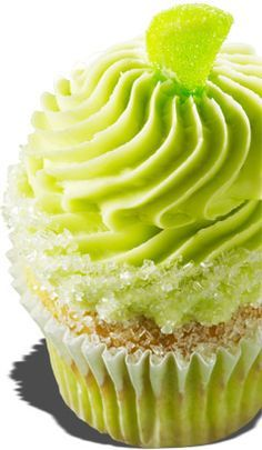 Margarita flavored yellowcake with a margarita cream cheese frosting, rimmed in sugar crystals and topped with a candied lime slice.