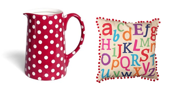 Red polka dot milk jug and alphabet cushion available at www.heartandhome.co.za
