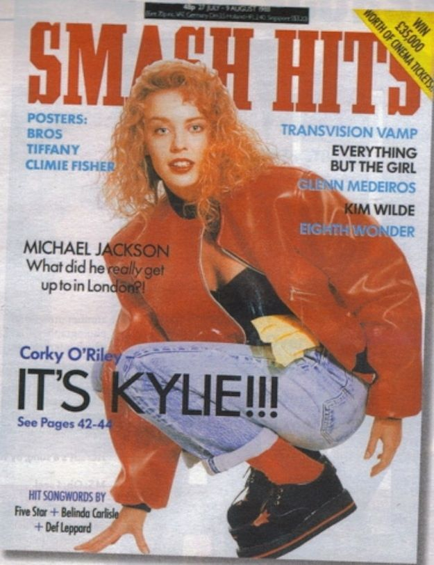Kylie, July 1988. | 23 Amazing Smash Hits Covers From The '80s. The badges caused stampeded at the news agents everytime!