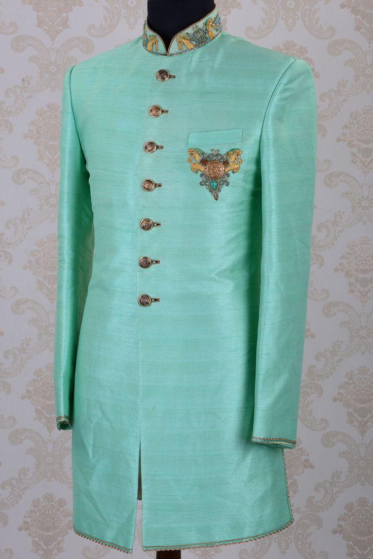 IndoWestern Sherwani-Mint Green-Zari Work-IW818 - IndoWestern Sherwani/Achkans - Sherwani - Men's Wear